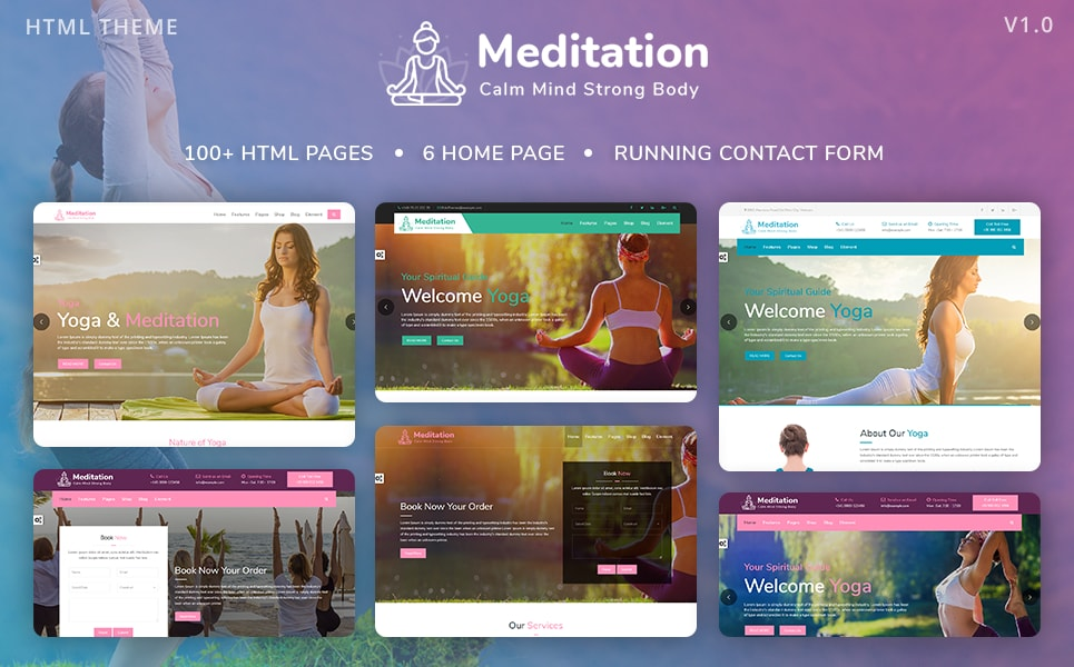 Meditation - Yoga, Fitness & Meditation Mobile Responsive Bootstrap HTML Website Template