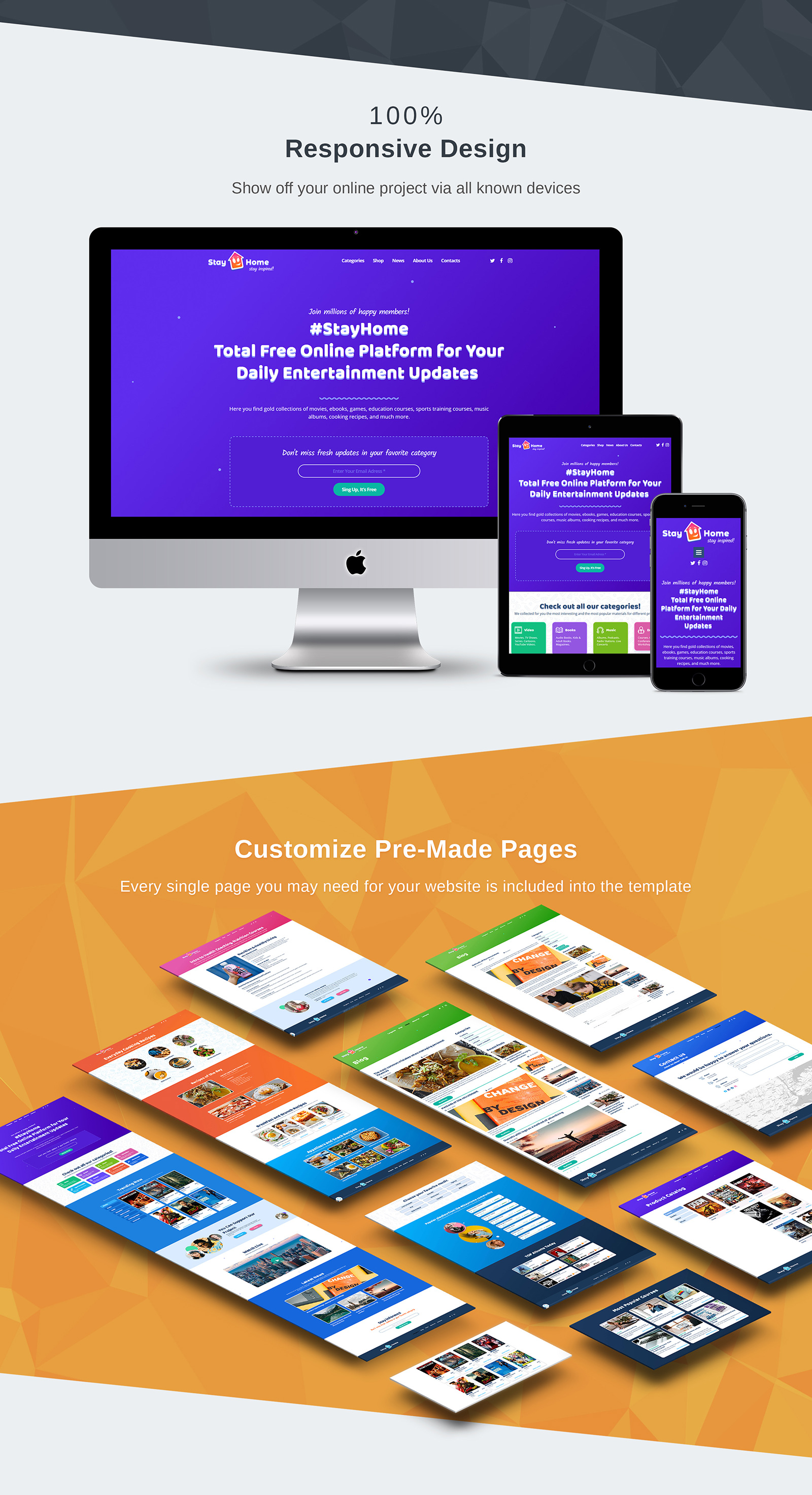Stay Home Moto CMS 3 Template