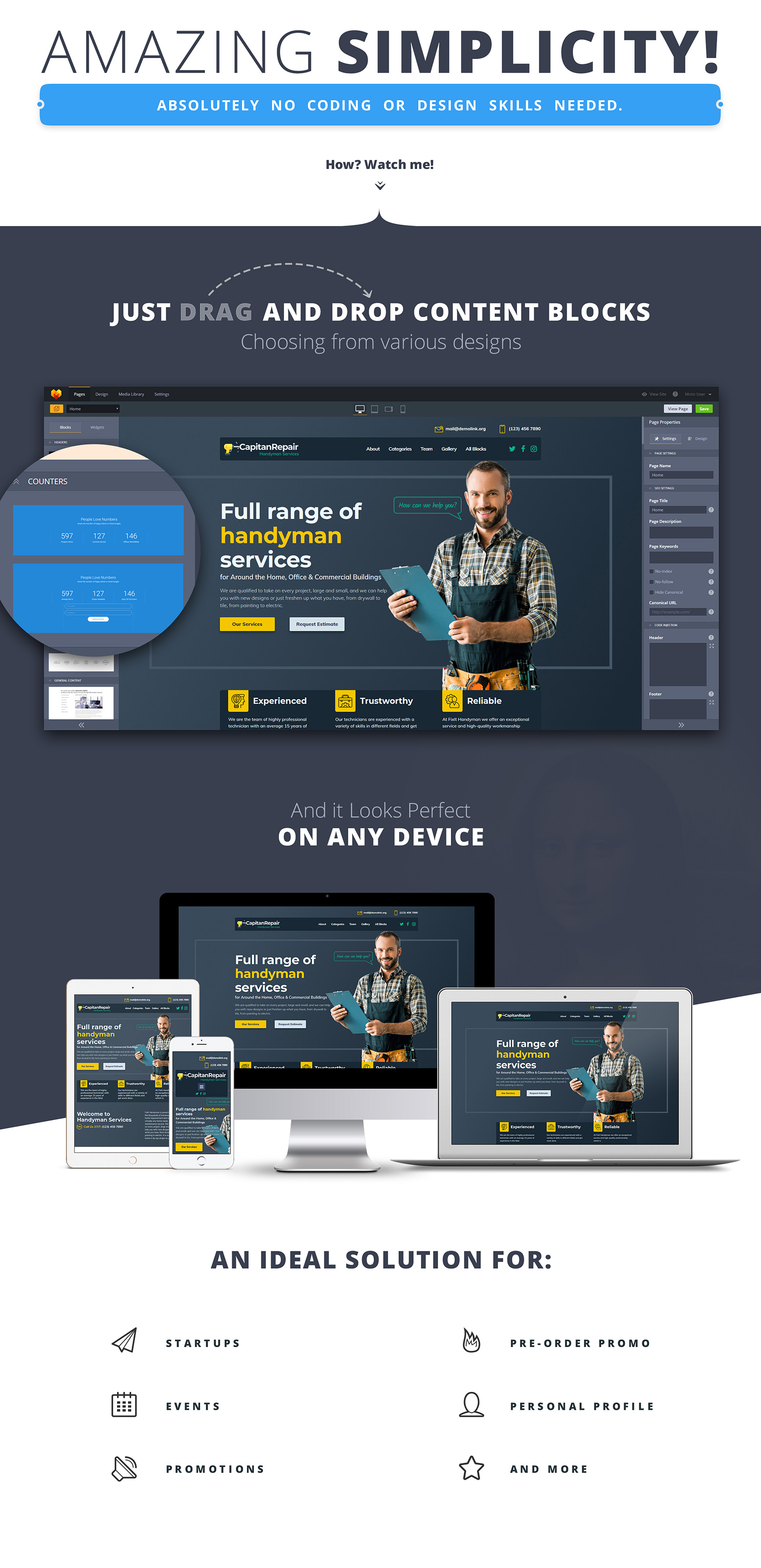 Capitan Repair - Handyman Services Landing Page Template