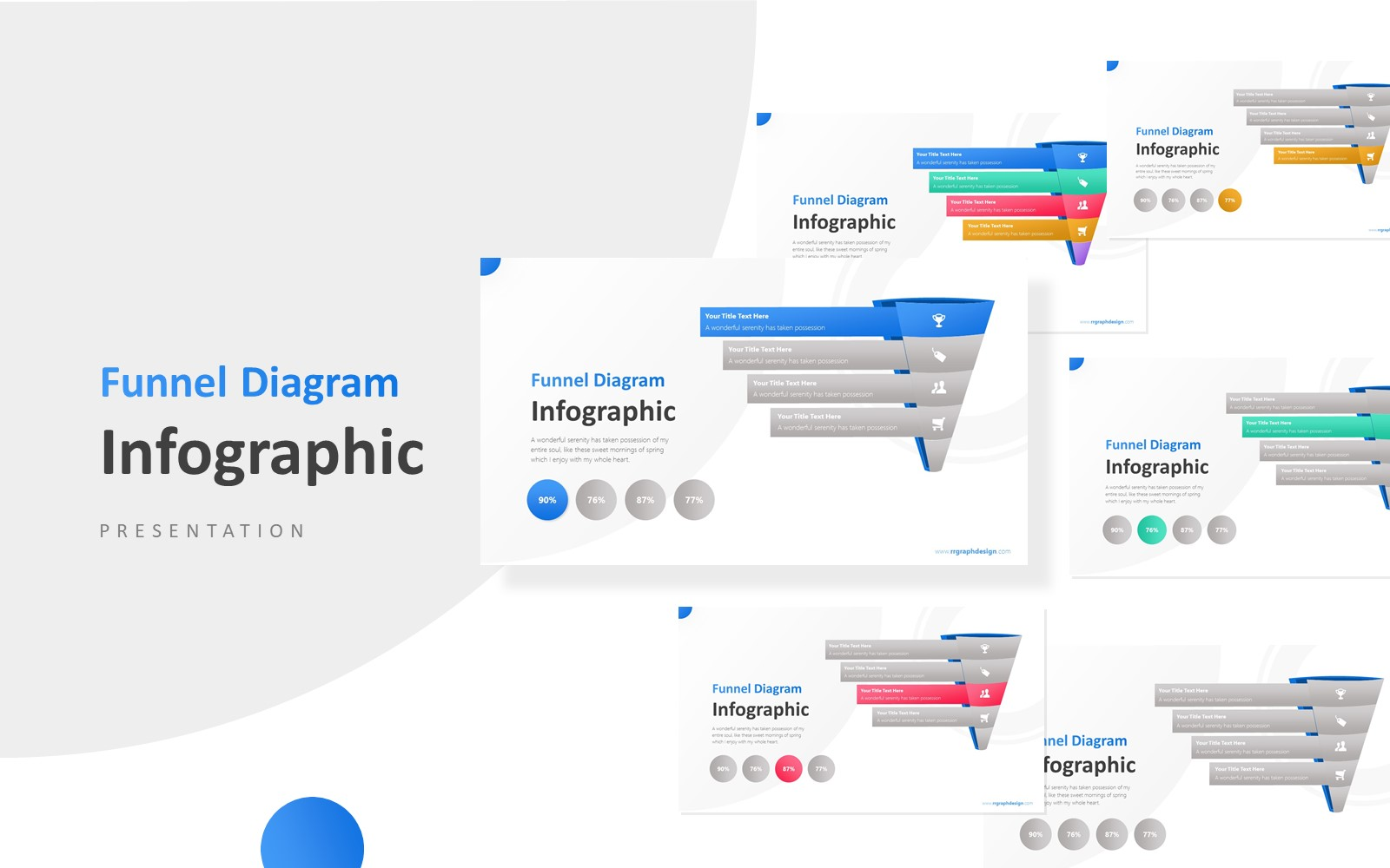 3D Funnel Diagram with Icons Infographic Presentation PowerPoint Template