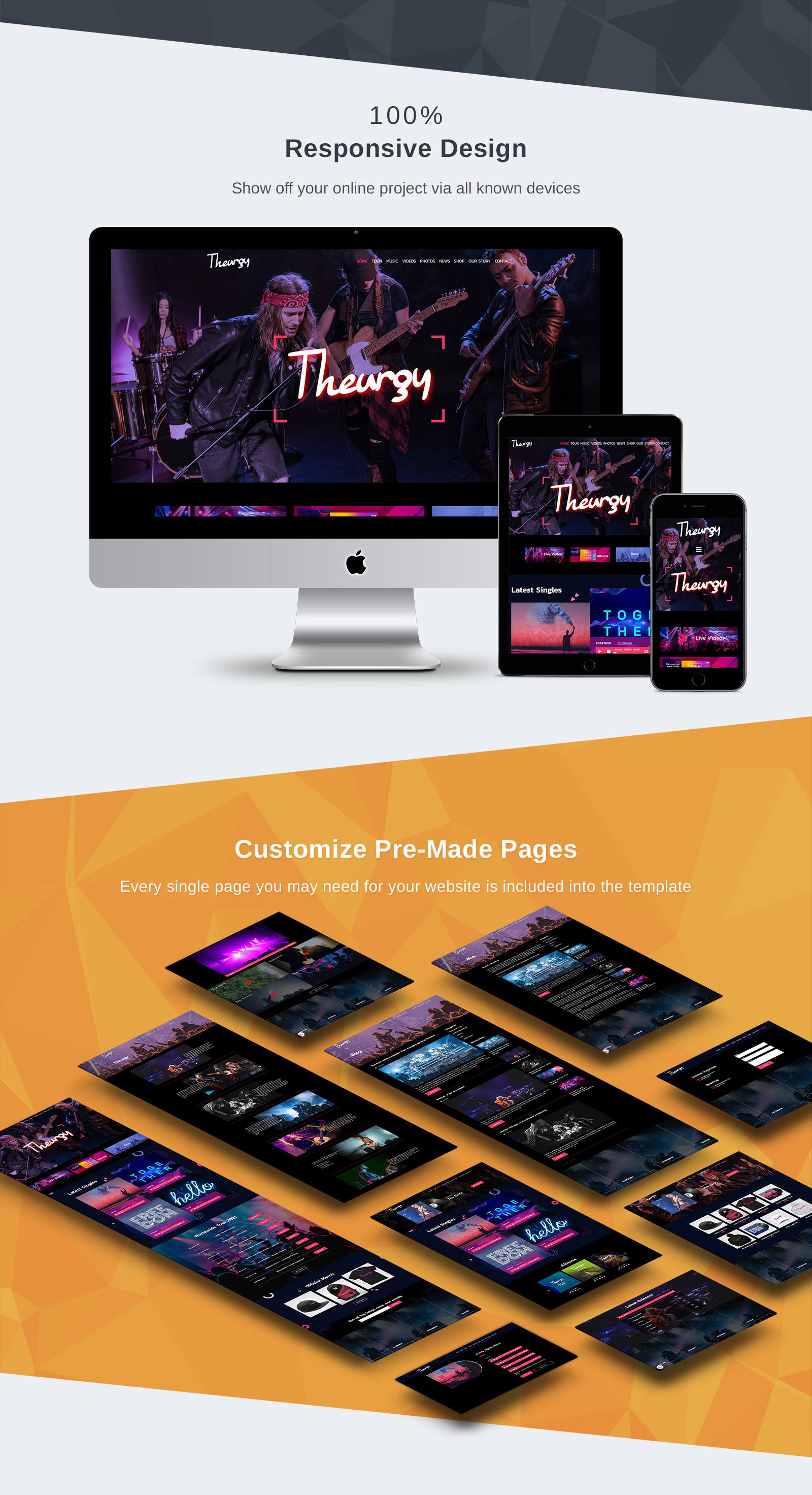 Theurgy - Music Band Moto CMS 3 Template