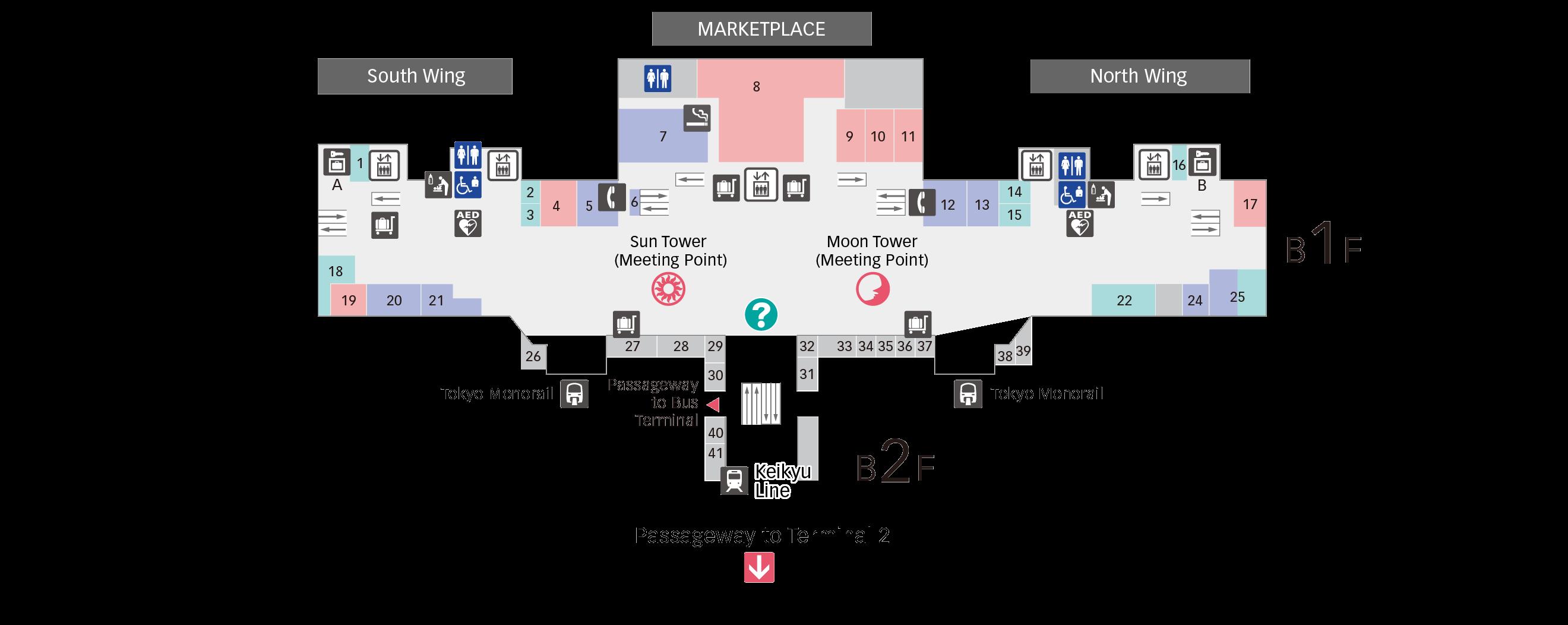 B1F Keikyu Line/Tokyo Monorail Floor Map