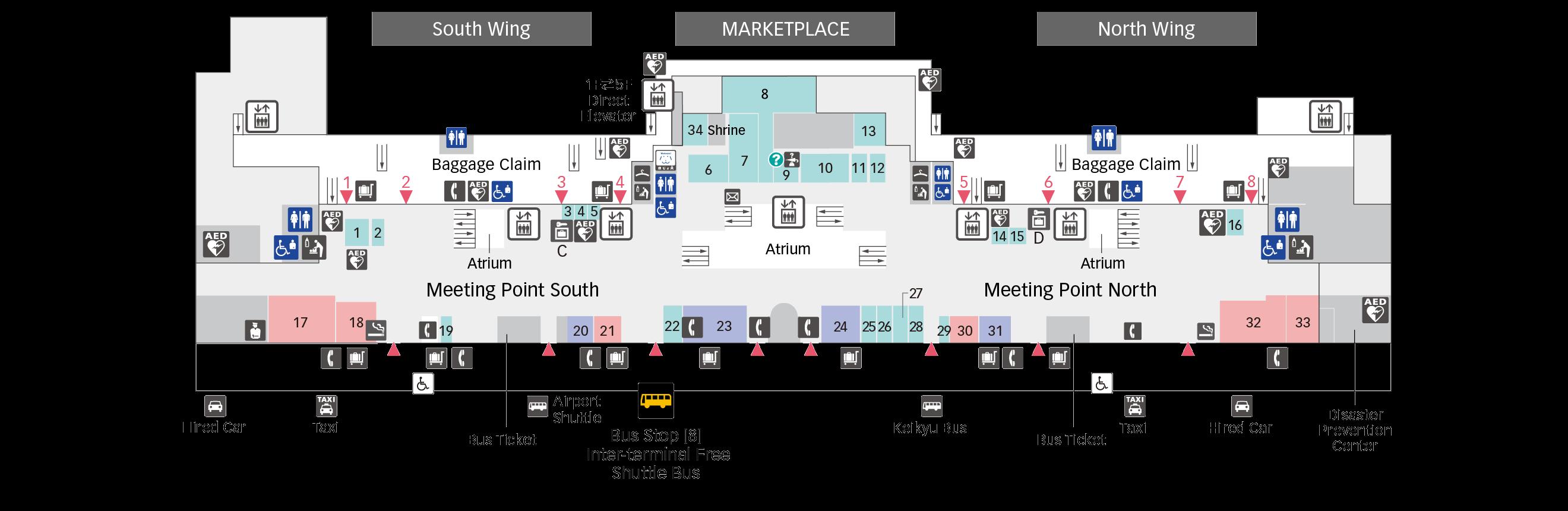 1F Arrival Lobby floor map