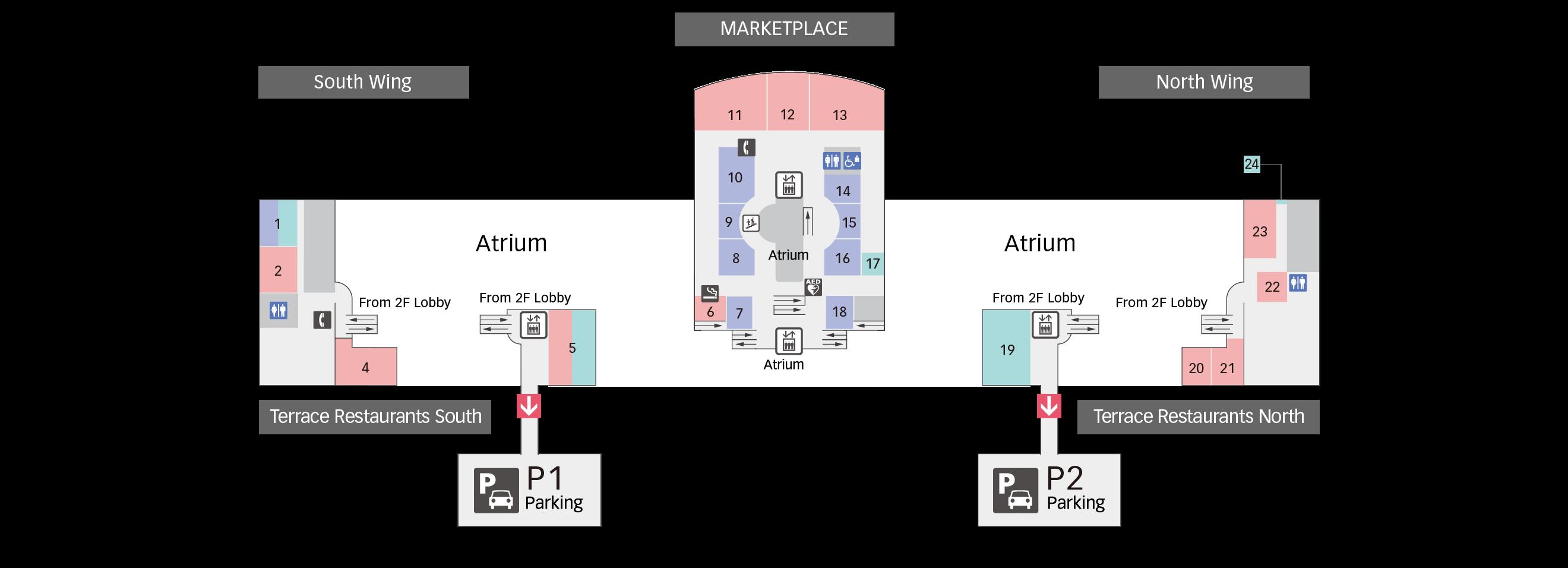 3F Restaurants & Shops floor map
