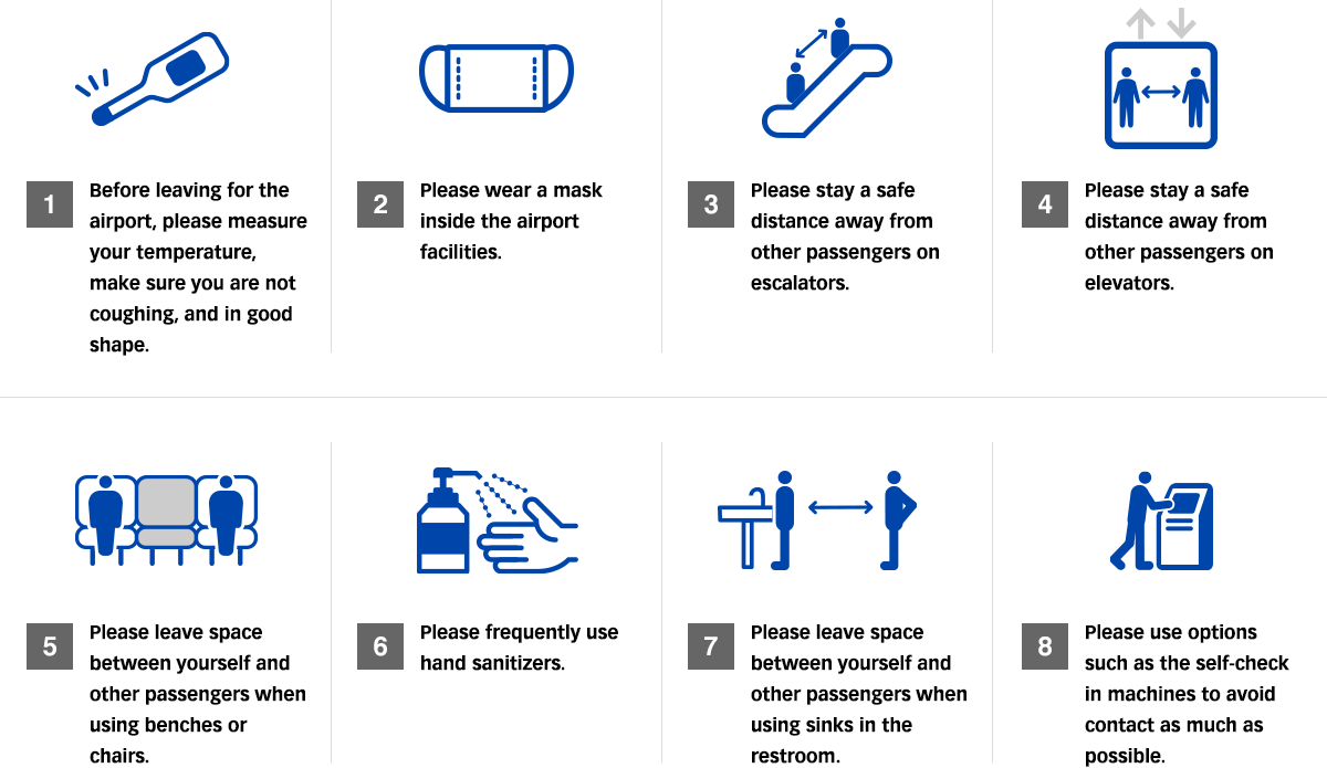 1.Before leaving for the airport, please measure your temperature, make sure you are not coughing, and confirm you are in good shape. 2. Please wear a mask inside the airport facilities. 3. Please stay a safe distance away from other passengers on escalators. 4. Please stay a safe distance away from other passengers on elevators. 5. Please leave space between yourself and other passengers when using benches or chairs. 6. Please frequently use hand sanitizers. 7. Please leave space between yourself and other passengers when using sinks in the restroom. 8. Please use options such as the self-check in machines to avoid contact as much as possible.