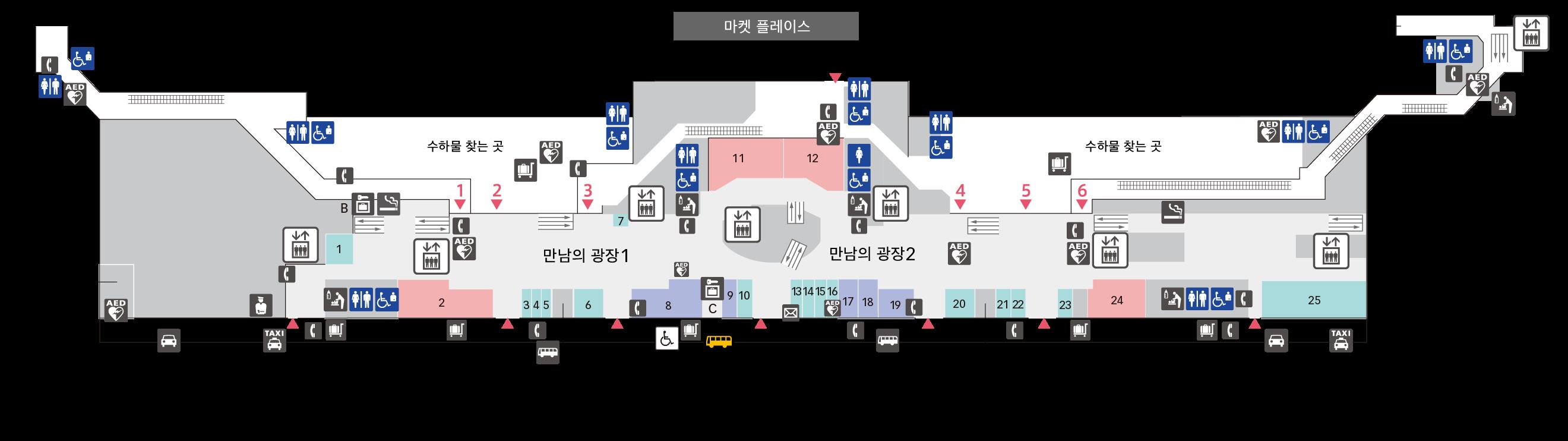 1F 도착 로비(국내선) 플로어 맵