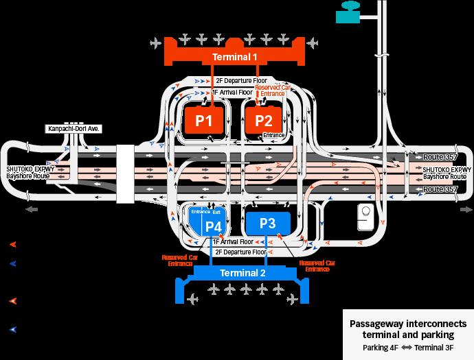 T1 및 T2 주변 도로 지도