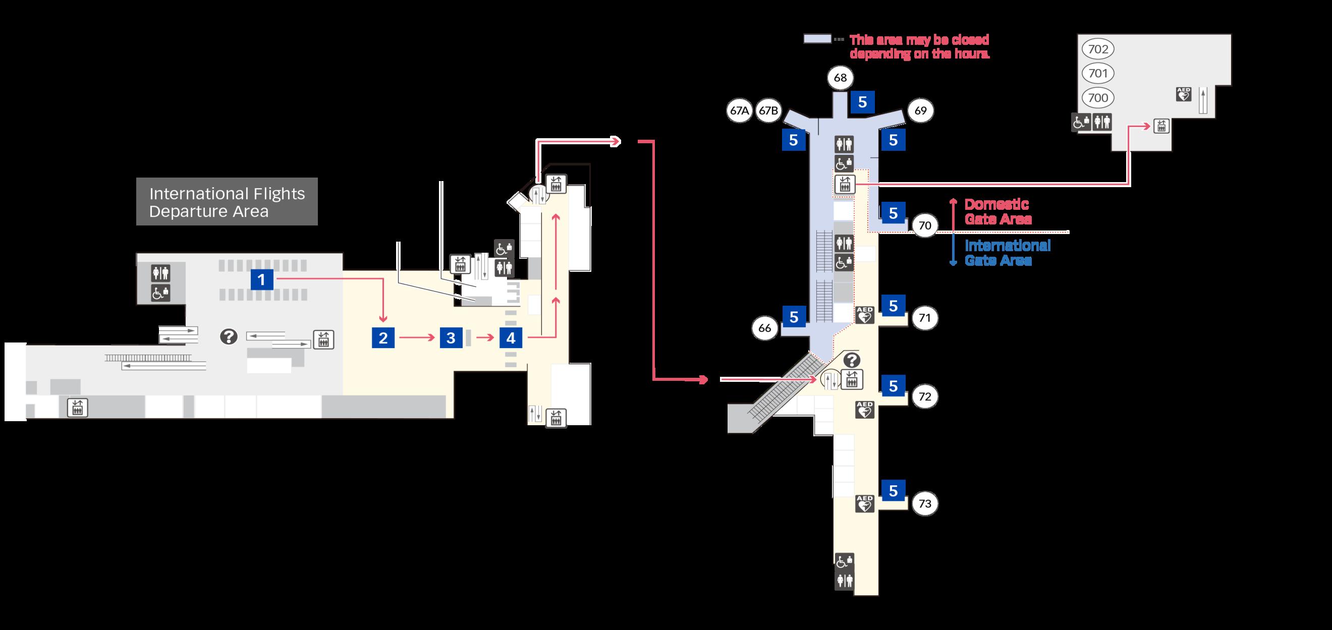 출발 수속 제2터미널 층별 지도