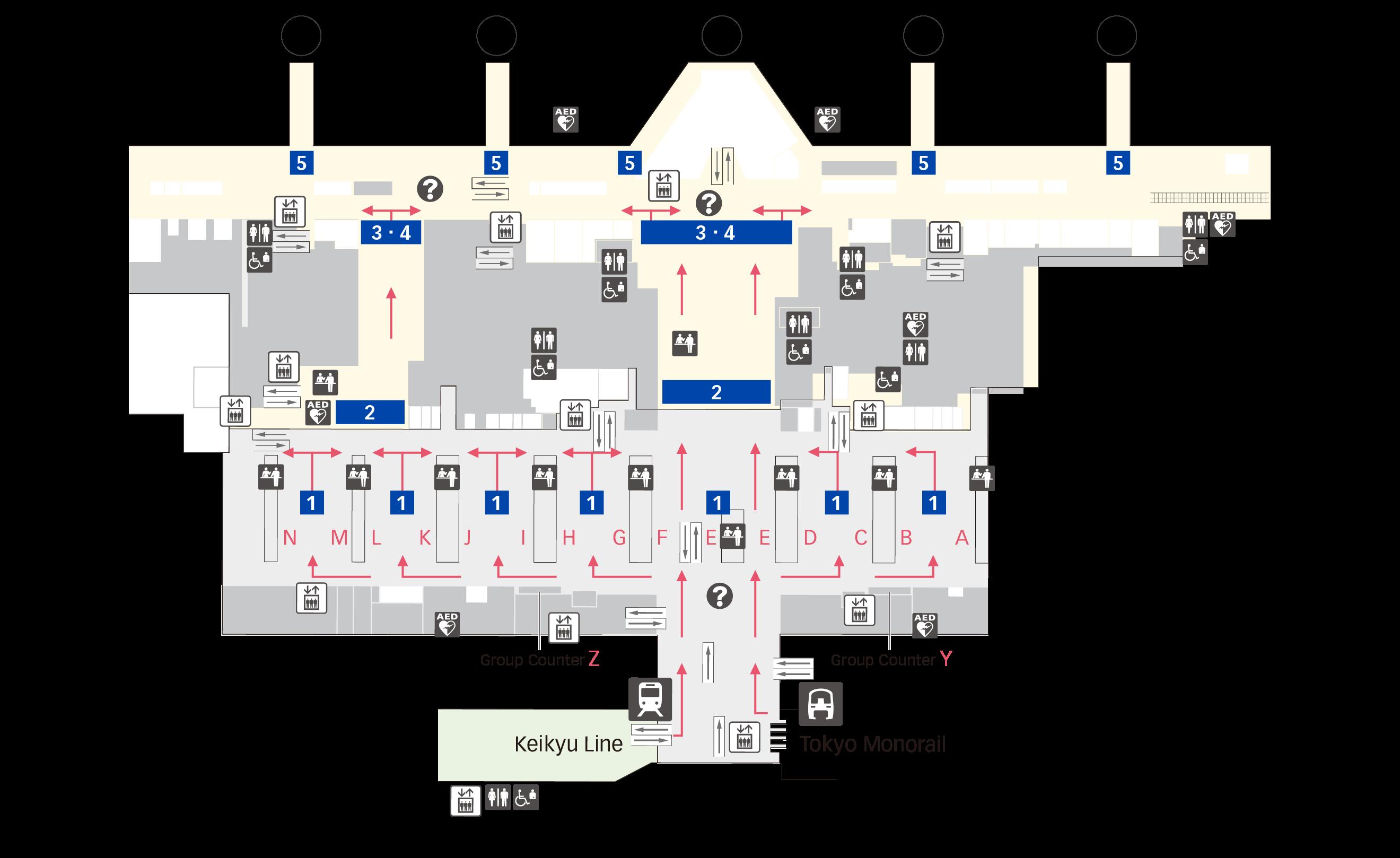출발 수속 제3터미널 층별 지도