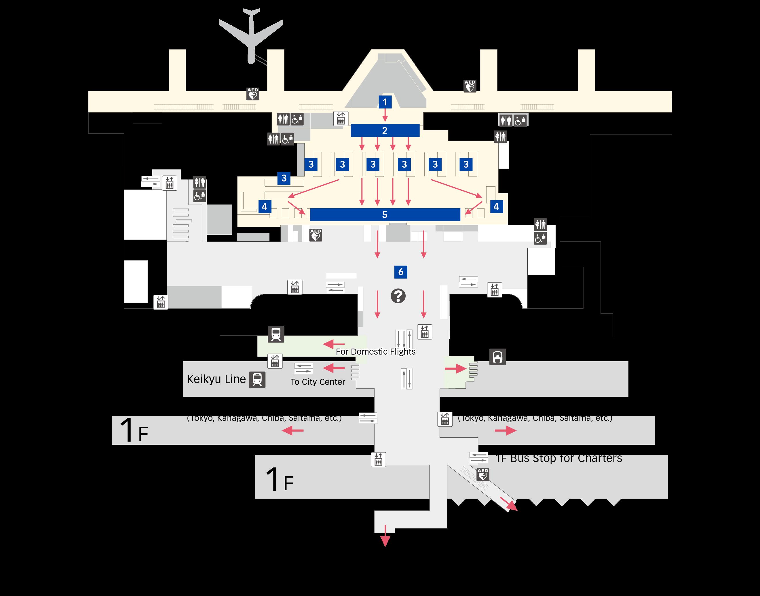 도착 수속 제3터미널 층별 지도