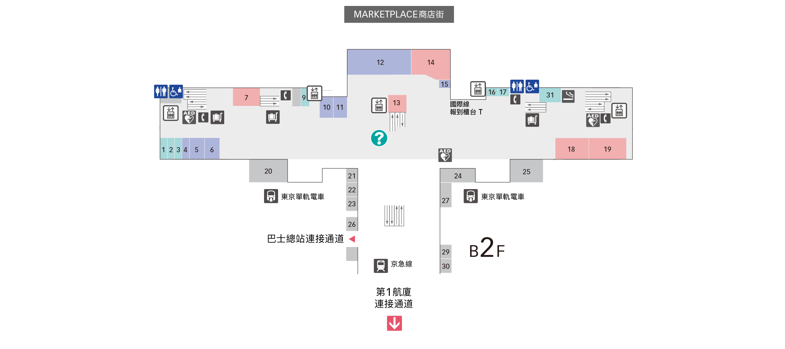 B1F京急線/東京單軌電車樓層地圖