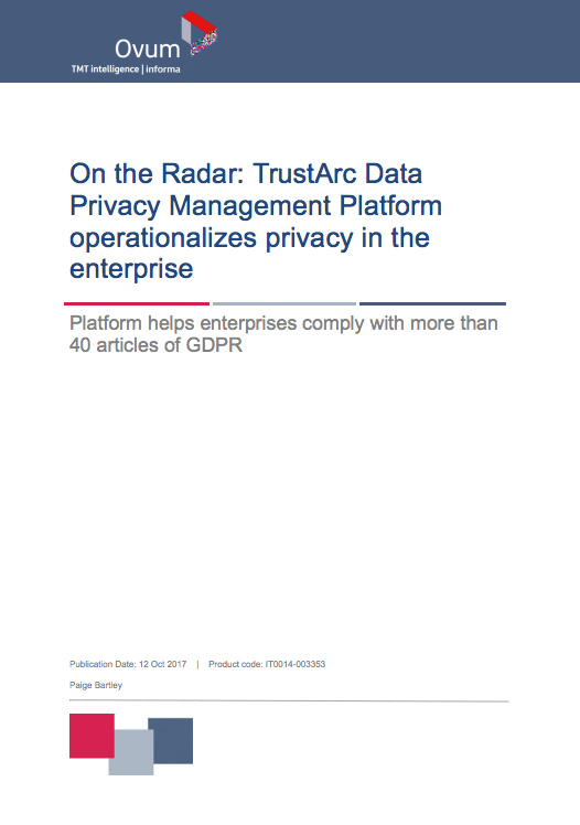 TrustArc Privacy Platform Recognized in Ovum On the Radar Report