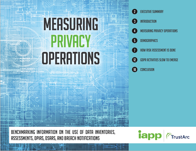 Benchmarking GDPR Privacy Operations - New IAPP / TrustArc research report reveals how companies are managing compliance