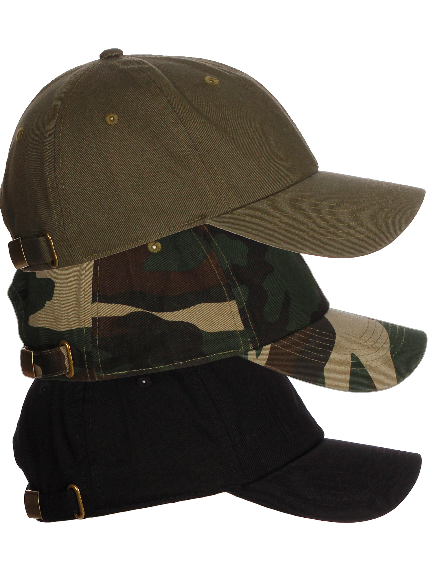 American Cities Plain Dad Hat 100 Cotton Unstructured Unisex Cap Adj Strap  3pk - Black Camo Olive. About this product. Picture 1 of 11  Picture 2 of  11 ... b13bcfef63fd