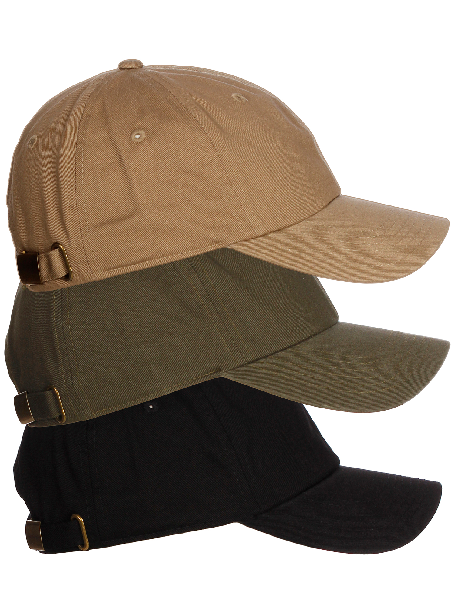 American Cities Plain Dad Hat 100 Cotton Unstructured Unisex Cap Adj Strap  3pk - Black Olive Khaki. About this product. Picture 1 of 9  Picture 2 of 9  ... ce177151c762