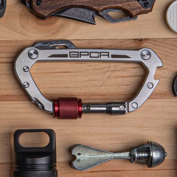 gpca carabiner red ring steel