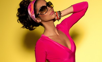 Leilani Dowding Deja Jordan VIVA GLAM MAGAZINE pink dress yellow background