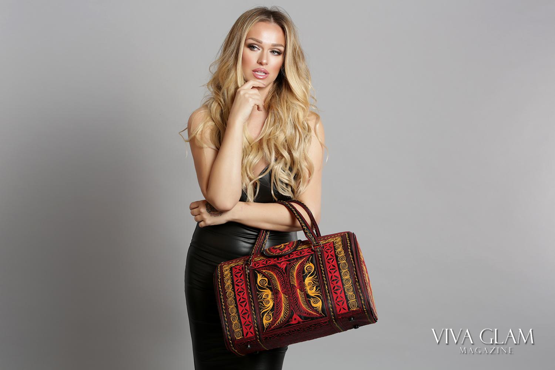 katarina van derham banda bags vegan handbag purse slovak viva glam magzine beach waves sunset blond cashmere hair