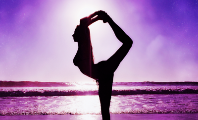 why not try yoga in 2017 silhouette of Jesse Golden doing yoga beach purple background