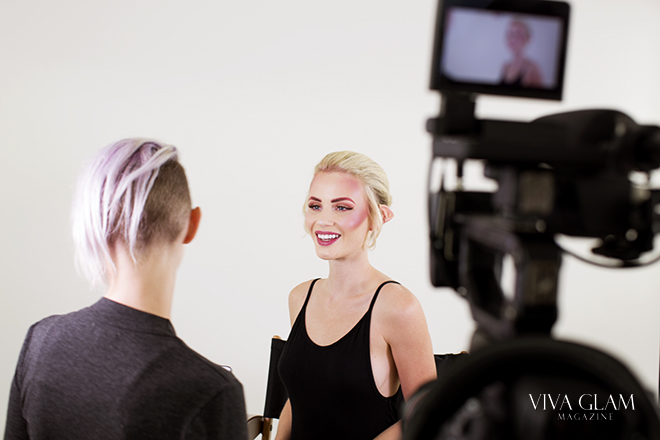 Makeup artist James Elle and VIVA GLAM Supermodel Liv Jaeger