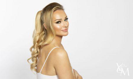 katarina van derham in cashmere hair ponytail