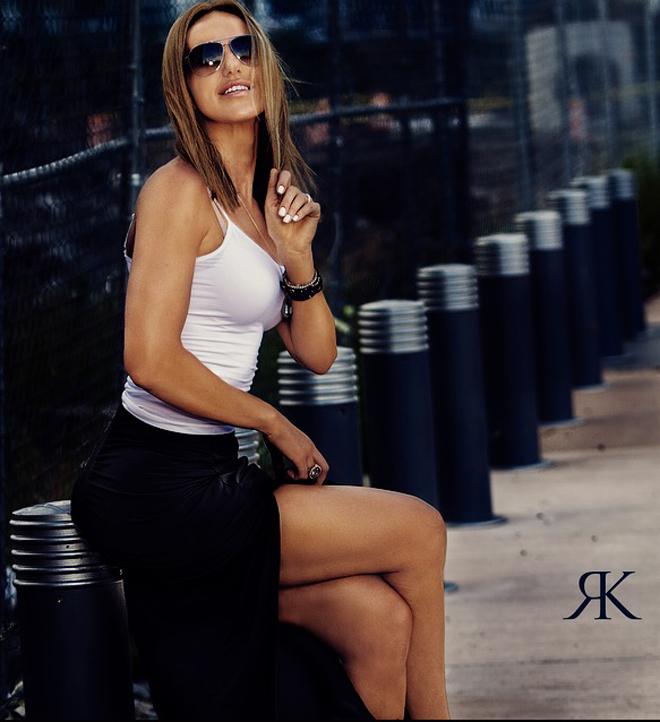 Bozena Zag model interview sitting on walkway