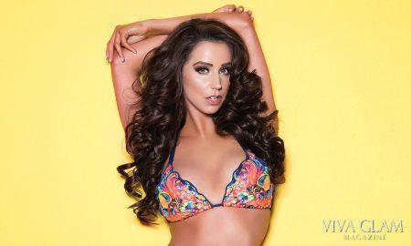 Top 20 Sexiest-2017-Syd-Wilder-Agua-Bendita-swim-yellow-wall-front-Feature, Photographer Deja Jordan, Hair Jesus Guerrero