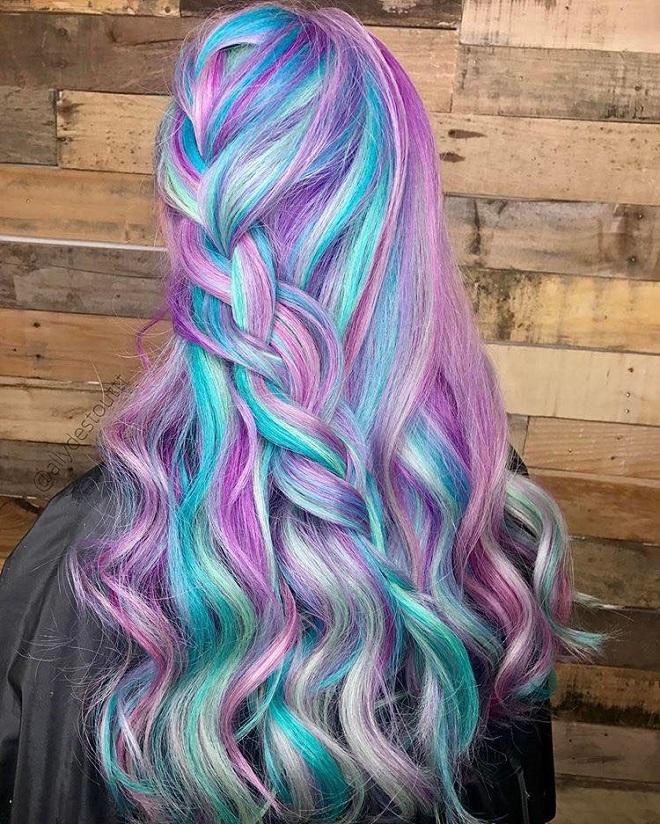 The Sexy Rainbow Hair Looks of 2017 moonstone rainbow