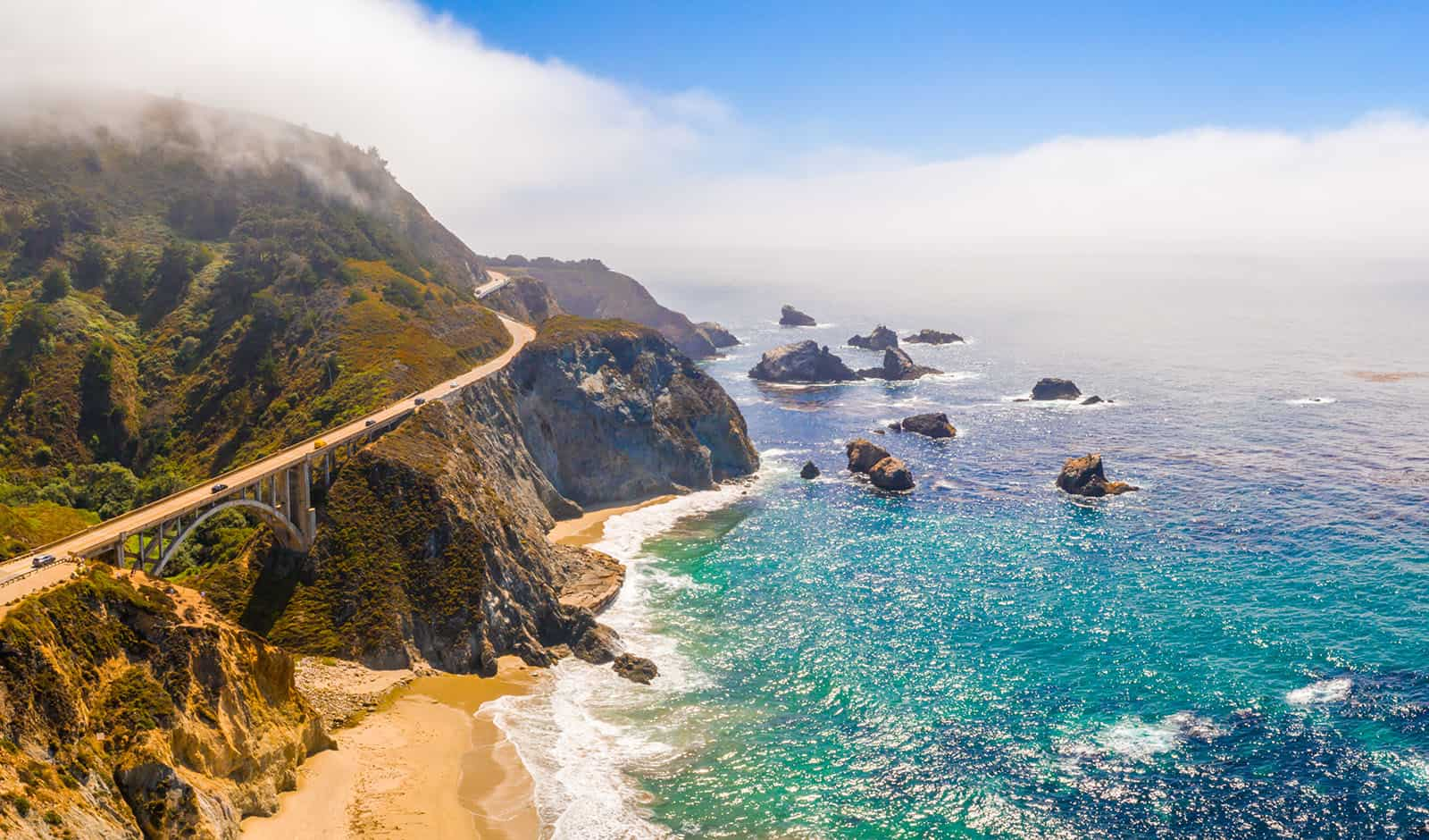 Arial view of the California Bixby bridge in Big Sur in the Mont