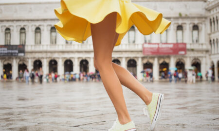 how-to-wear-yellow-woman-twirling-in-yellow-dress-and-shoes