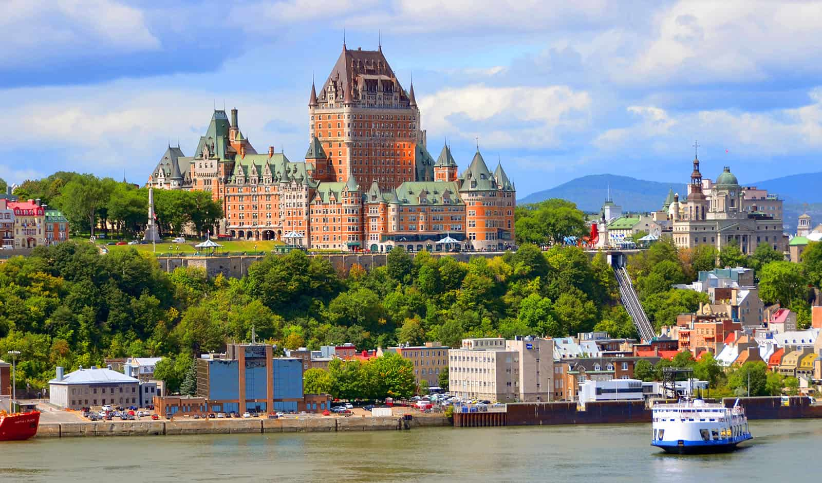 QUEBEC CITY, CANADA – AUGUST 27: From Levis Chateau Frontenac of