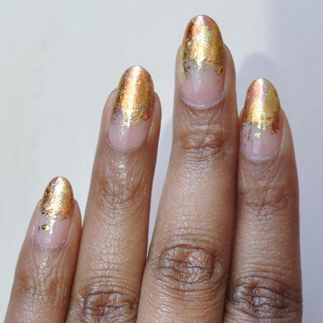 15 Nail Trends You Need to Sport This Summer golden foil tips