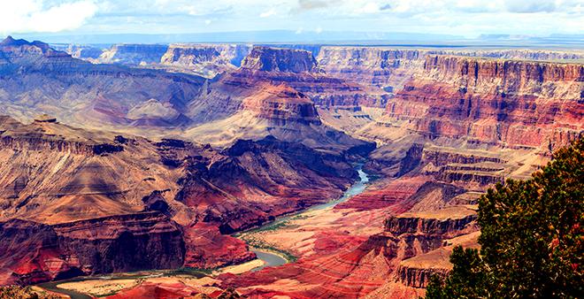 Panorama image of Colorado river through Grand Canyon