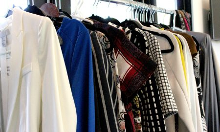 a rack of clothes