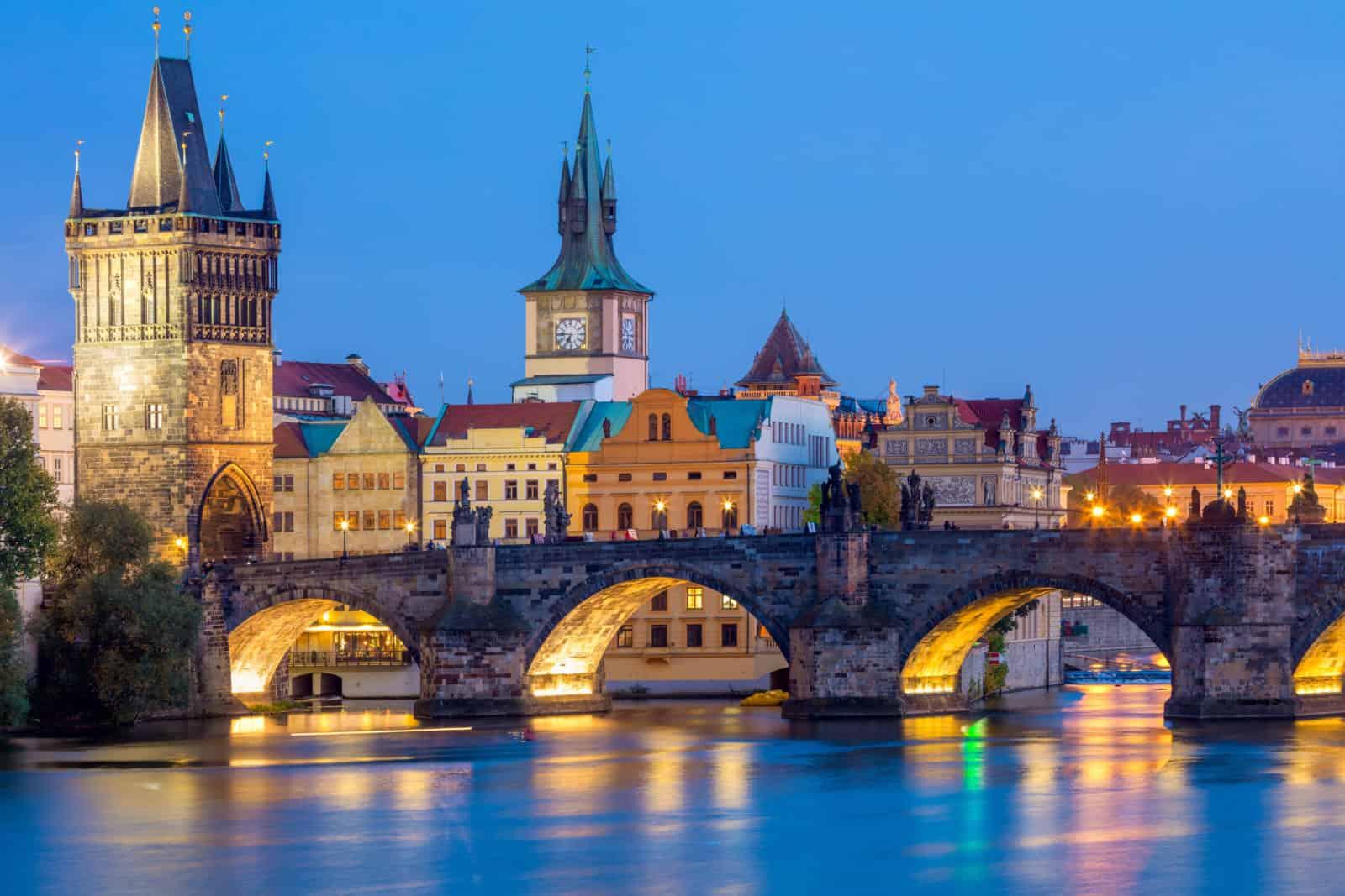 Famous Prague Landmarks – towers and bridge at night
