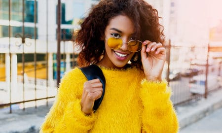Sunglasses-How-to-Know-What-Looks-Good-close-up-woman-in-yellow-sunglasses