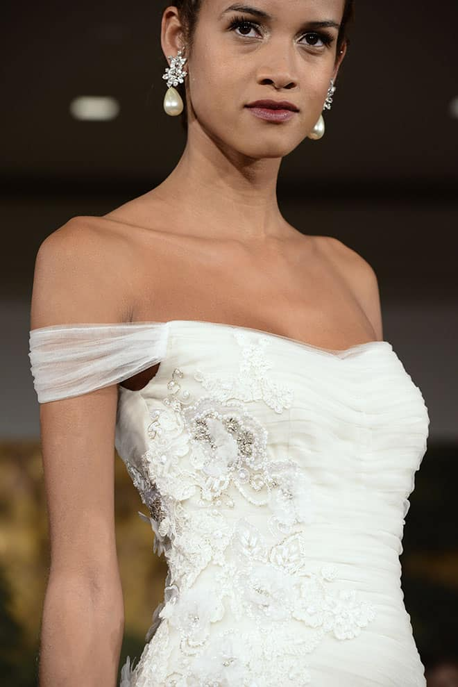 wedding-dress-ideas-for-summer-brides-woman-in-off-the-shoulder-wedding-gown