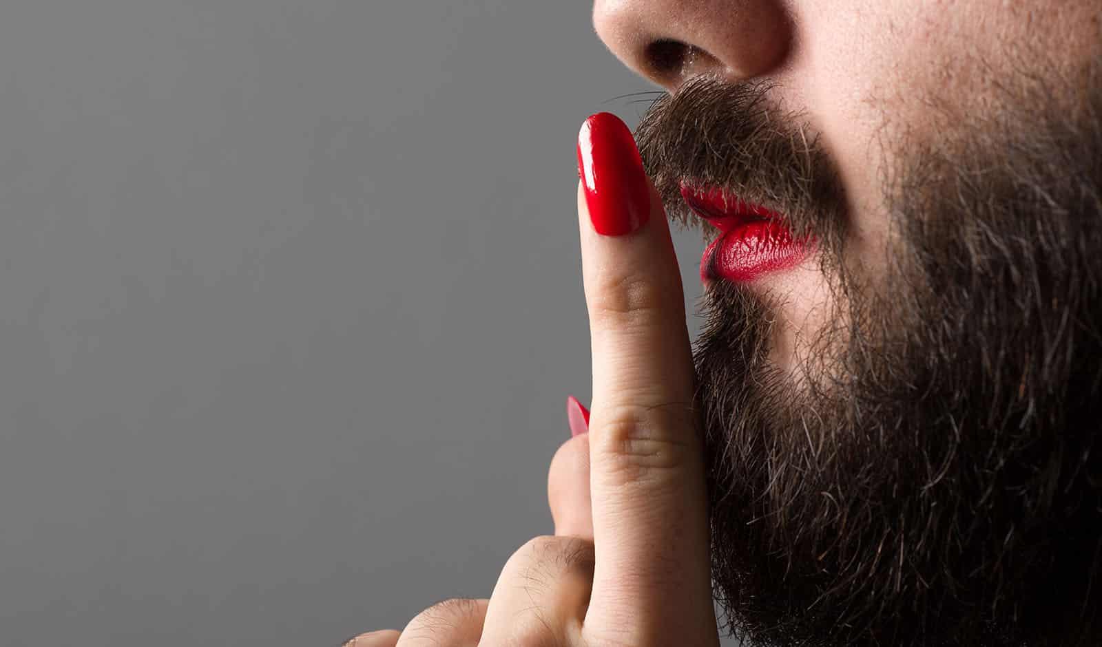 Man with Lipstick and Nail Polish