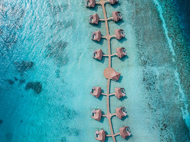 InterContinental-Maldives-Hero shot-Overwater-Pool-Villas-Aerial-View