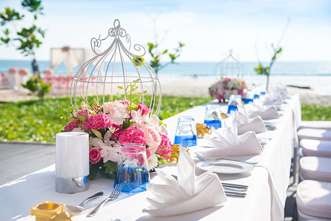 Table setting at a luxury wedding and Beautiful flowers on the t