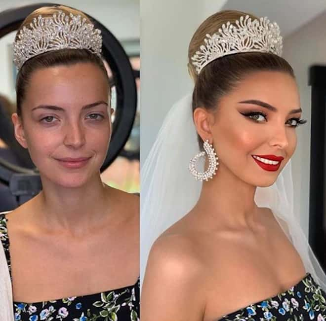 a makeup artist shares before and after beauty transformations that show how brides glam up for their big day 5
