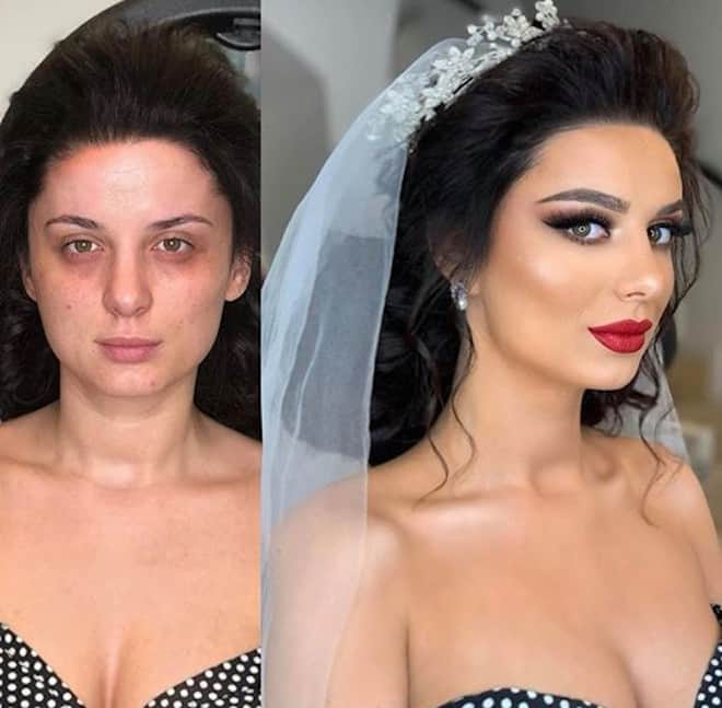 a makeup artist shares before and after beauty transformations that show how brides glam up for their big day 9