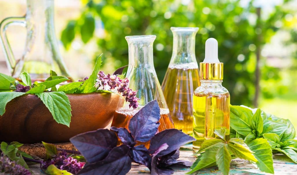 oils-cbd-products-sitting-outside-in-green