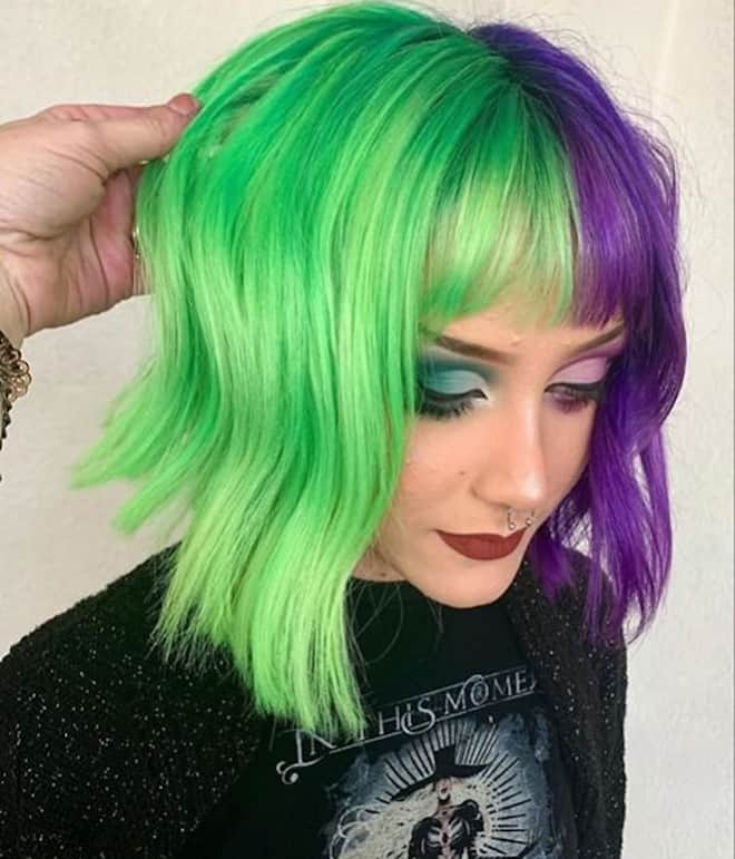 which to try hair color based on your zodiac – gemini two tone neon hair
