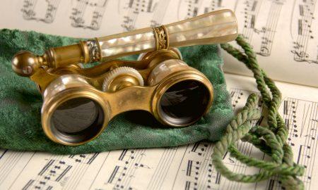 Antique Opera Glasses on Sheet Music