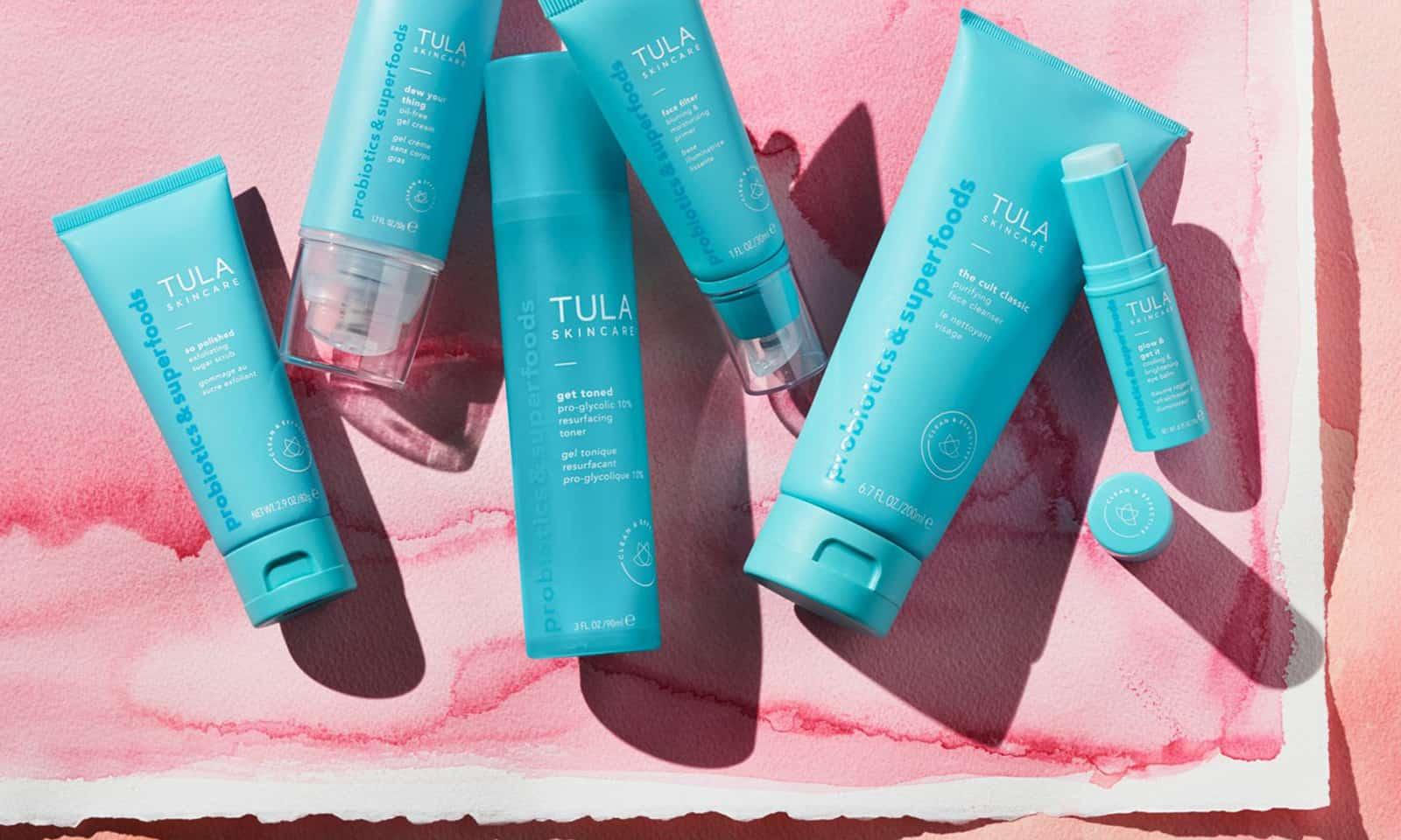 tula-produts-beauty-nighttime-routine-products-on-pastel-background