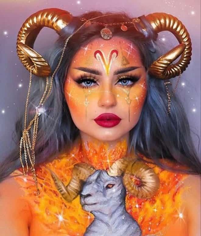 zodiac makeup looks - aries