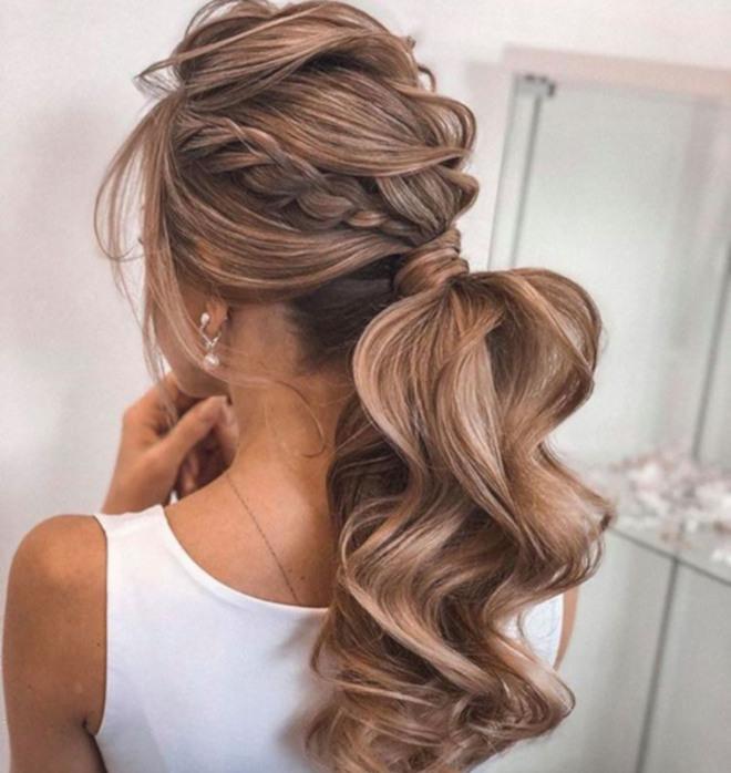 feminine braided ponytails