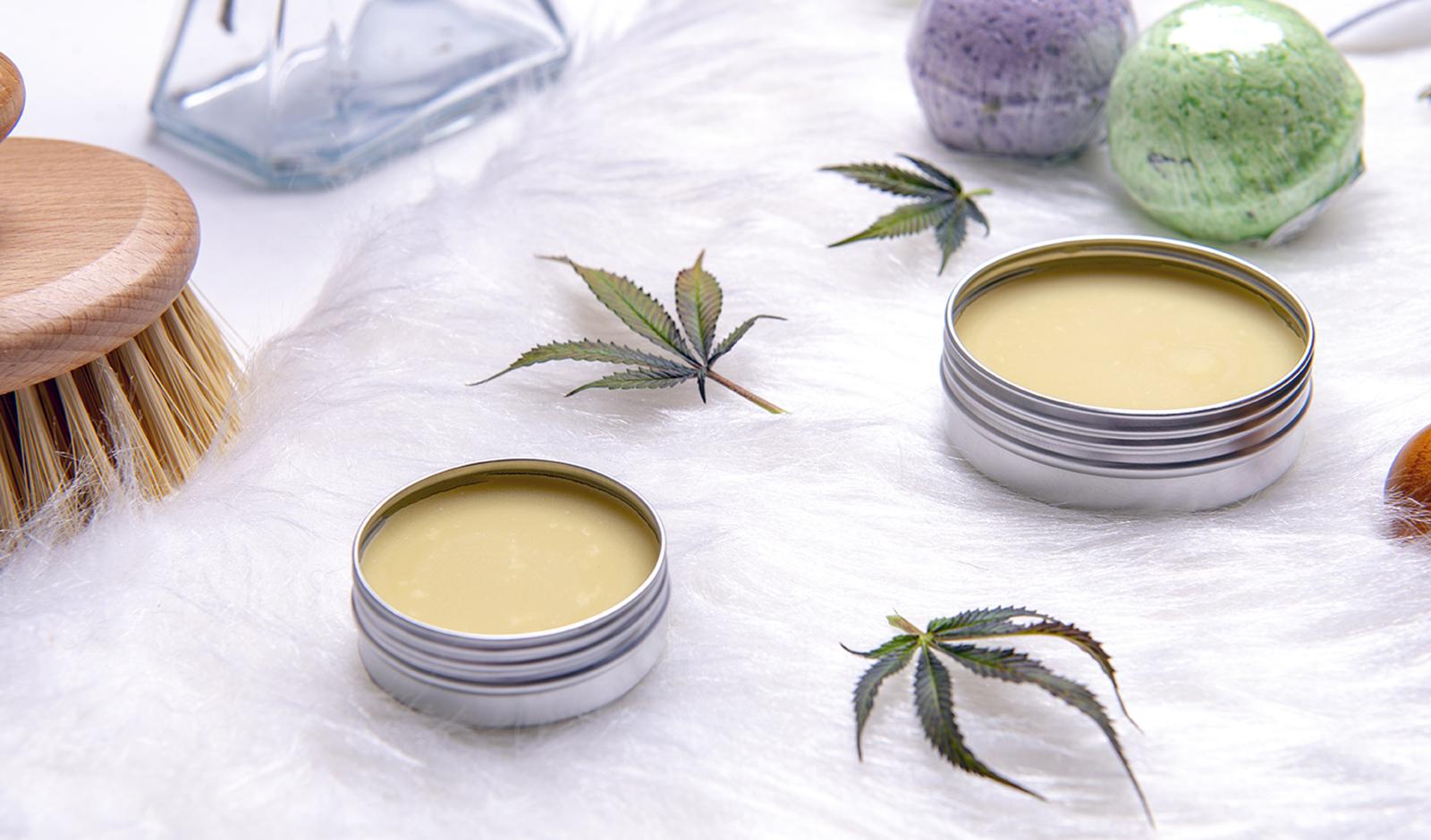 Assortment of cannabis topicals with bath bombs and marijuana sa