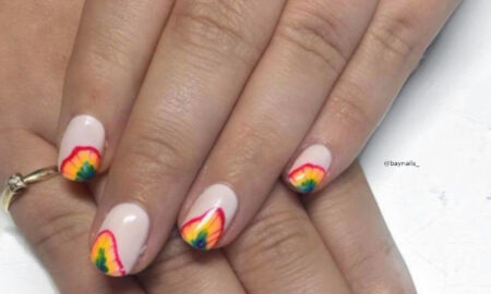 Rainbow Tie-Dye French Manicure
